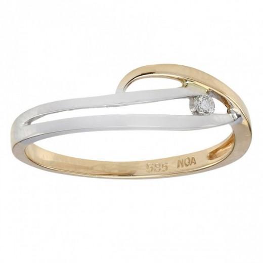 Nordahl Andersen 14kt hvidguld og guld ring med Diamant 116 201BR5-31