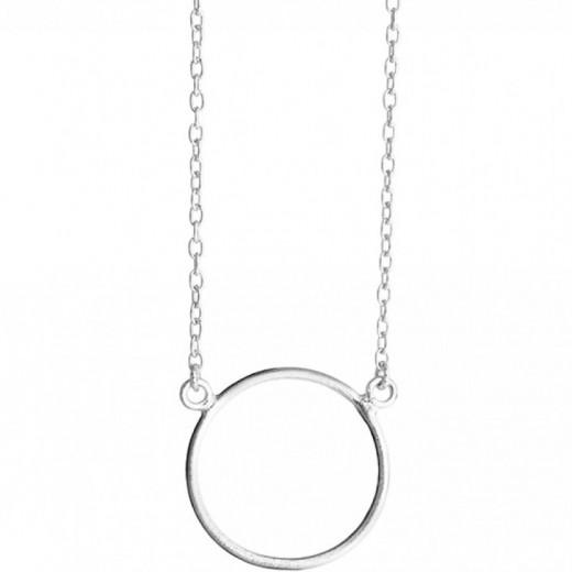 Susanne Friis Bjørner Børstet Sølv coller med stor cirkel vedhæng 45cm 1380-1-31
