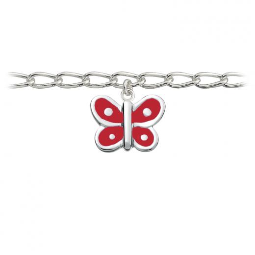 SmykkeLine Sommerfugl Armbånd med Rød Emalje 15023203-31
