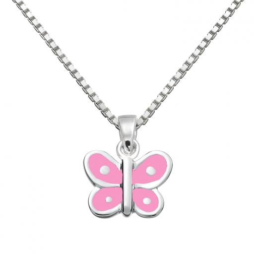 SmykkeLine Sommerfugl Halskæde med Pink Emalje 16223303-31