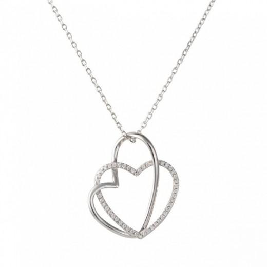 Nordahl Andersen Sølv Hjerte Halskæde med zirkonia 245 012-31