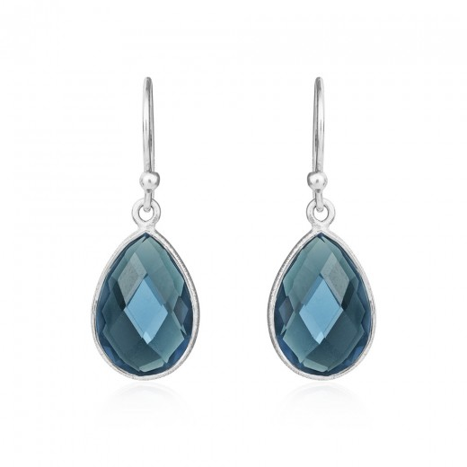 Susanne Friis Bjørner Sølv ørehæng med London Blue Krystal 7x9, 8x12 og 10x15-31
