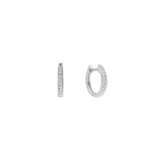 Lund Copenhagen 14kt Hvidgulds Creol med Diamanter 609837-0,10-31