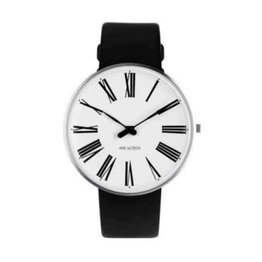 Arne Jacobsen Roman 40mm 53302-2001 med sort læder rem-31