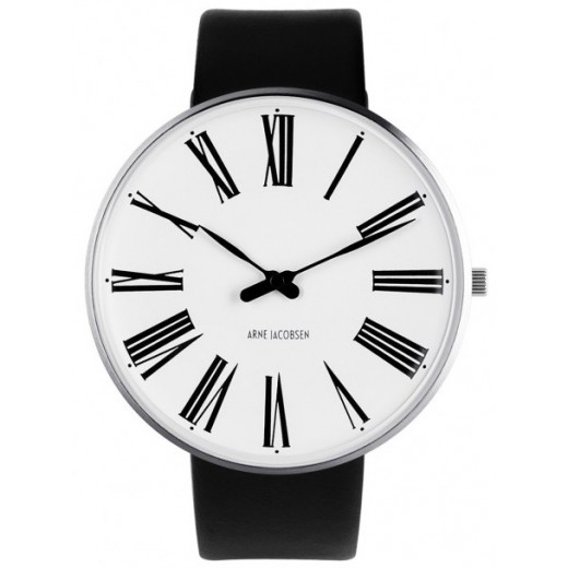 Arne Jacobsen Roman 46mm 53303-2201 med Sort læder rem-31