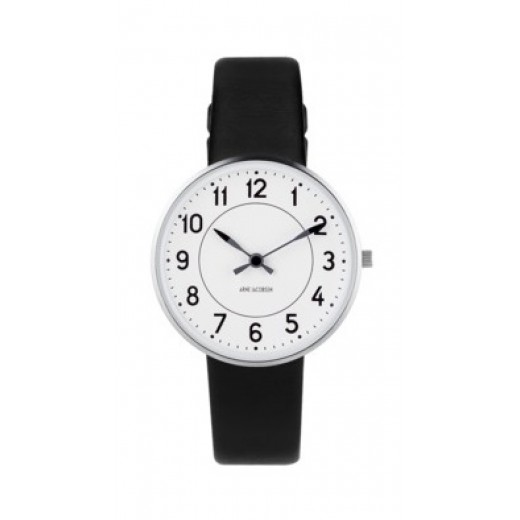 Arne Jacobsen Station 34mm 53401-1601 sort læder rem-31