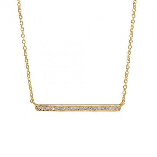 Joanli Nor AMIRA bar halskæde i forgyldt sølv med zirkonia 845 103-3-31