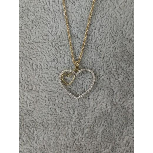 14kt Guld Hjerte Vedhæng med i alt 0,18ct Diamanter, 50cm 14kt Guld Kæde-01