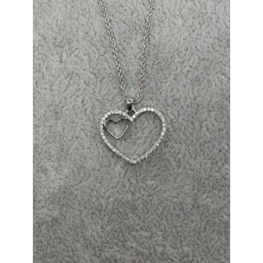 14kt Hvidgulds Hjerte vedhæng med i alt 0,18ct Diamanter, 50cm 14kt Hvidguldskæde-01