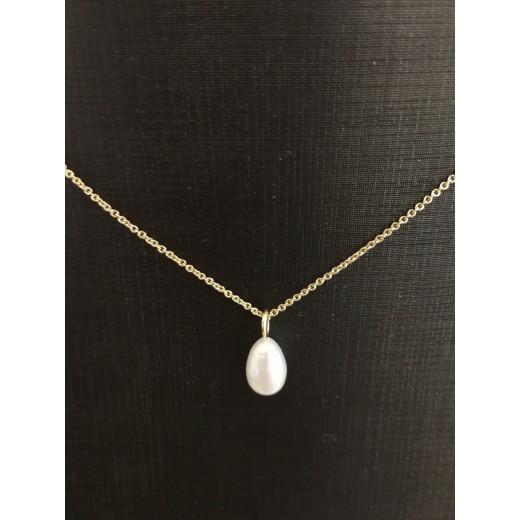 14kt Guld vedhæng med Ferskvands Perle, 14kt Kæde i 46cm-31