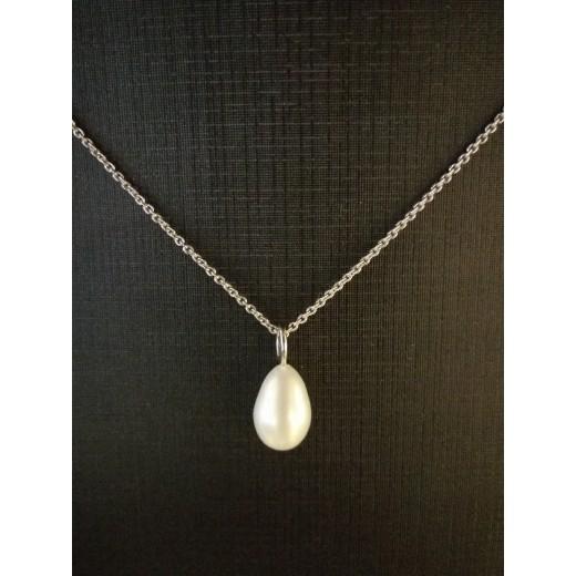 14kt Hvidgulds Vedhæng med Ferskvands Perle, 14kt Kæde i 46cm-31