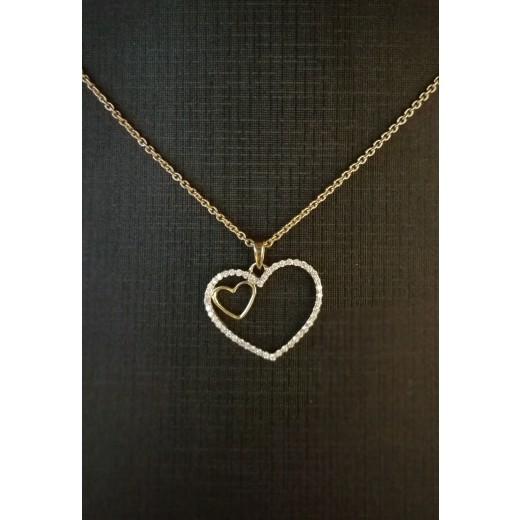 14kt Guld Hjerte Vedhæng med i alt 0,18ct Diamanter, 50cm 14kt Guld Kæde-31