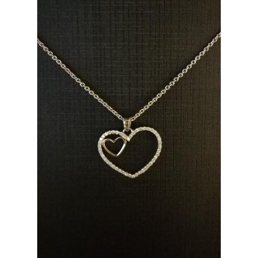 14kt Hvidgulds Hjerte vedhæng med i alt 0,18ct Diamanter, 50cm 14kt Hvidguldskæde-31