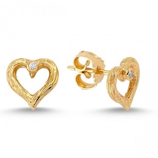 Nuran Nature Hjerte ørestik i 14kt Guld med Hvide Brillianter Ø1757-31