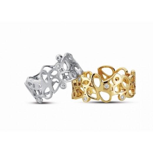 Nuran Lille Hjertering 14kt Guld med 5 Brillianter R2930-31