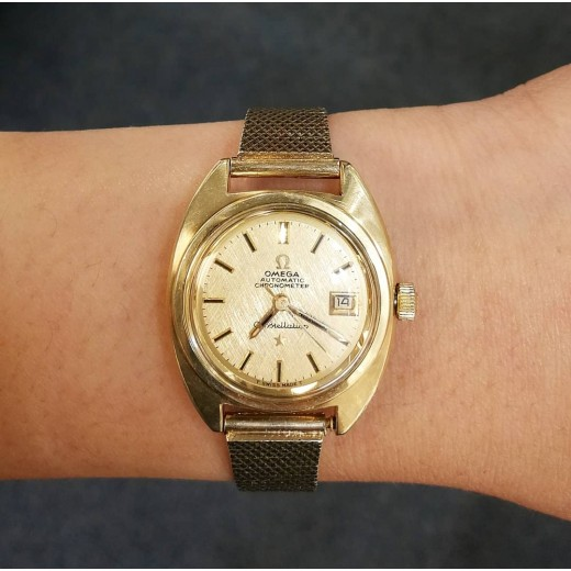 Omega Constellation Lady Automatik Chronometer 14kt guld/Stål-01
