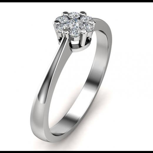 14kt Hvidguldsring med i alt 0,15ct Diamanter Wesselton VS-31