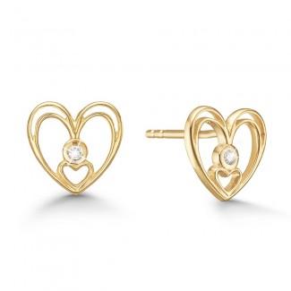 Agaard 8kt Guld Hjerte Ørestik med Diamanter 08942898-34-20