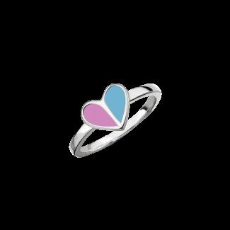 SmykkeLine 2-Farvet Hjerte Ring i Lyserød og Lyseblå 12223617-20