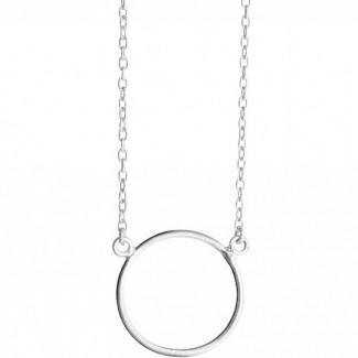 Susanne Friis Bjørner Børstet Sølv coller med stor cirkel vedhæng 45cm 1380-1-20