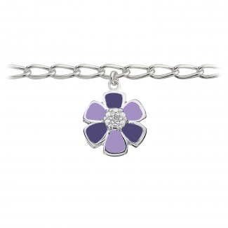 SmykkeLine 2-Farvet Blomst Armbånd i Lilla 15023412-20