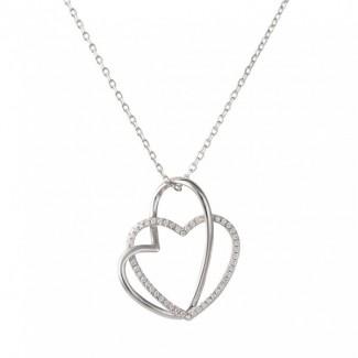 Nordahl Andersen Sølv Hjerte Halskæde med zirkonia 245 012-20