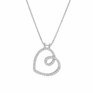 Joanli Nor AIDA hjerte halskæde med zirkonia 245 055-20