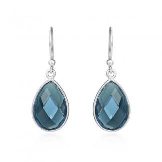 Susanne Friis Bjørner Sølv ørehæng med London Blue Krystal 7x9, 8x12 og 10x15-20
