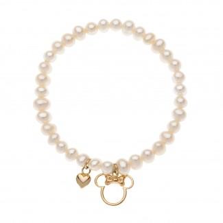 Disney Minni Mouse Armbånd med Perler og 9kt Guld Charms 65333011-20
