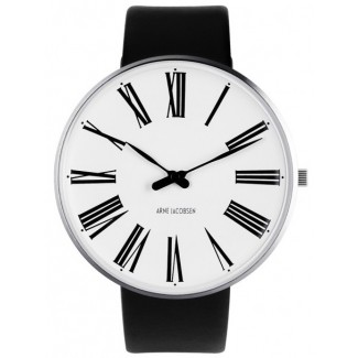 Arne Jacobsen Roman 46mm 53303-2201 med Sort læder rem-20