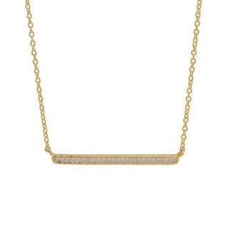 Joanli Nor AMIRA bar halskæde i forgyldt sølv med zirkonia 845 103-3-20