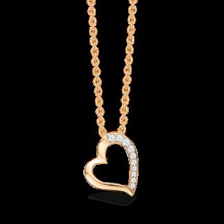 Støvring Design Forgyldt Sølv Halskæde med Hjerte og Zirkonia F16223565-20