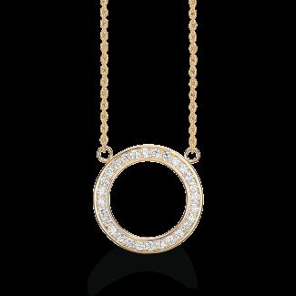Støvring Design Forgyldt Cirkel Halskæde med Zirkonia F16239080-20