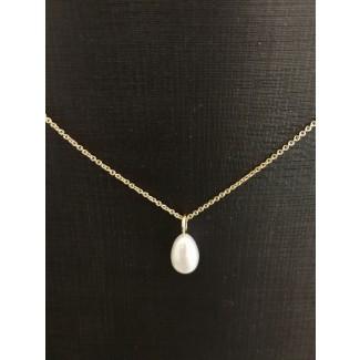 14kt Guld vedhæng med Ferskvands Perle, 14kt Kæde i 46cm-20