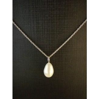14kt Hvidgulds Vedhæng med Ferskvands Perle, 14kt Kæde i 46cm-20