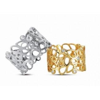 Nuran Stor Hjertering 14kt Guld med 6 brillianter R2926-20