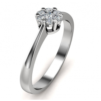 14kt Hvidguldsring med i alt 0,15ct Diamanter Wesselton VS-20