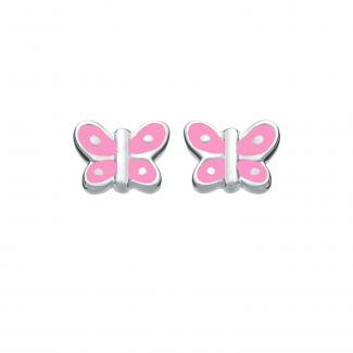 SmykkeLine Sommefugl Ørestik med Pink Emalje 10223303