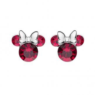 Disney Minnie Mouse Ørestik i Sølv med Rød Zirkonia Sten 10333008