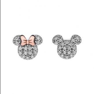 Disney Minnie og Micky Mouse Ørestik i Sølv med Zirkonia 10333993