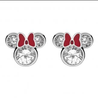 Disney Minnie Mouse Ørestik i Sølv med rød Sløjfe og Zirkonia 10333997