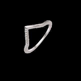 Støvring Design Sølv Ring med V med Zirkonia 12249999