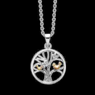 Støvring Design Sølv Livets træ Halskæde med Forgyldte Fugle og Zirkonia 16223622
