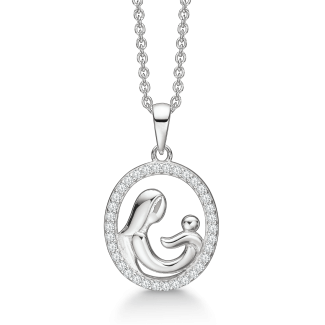 Støvring Design Sølv Mor og Barn Halskæde med Zirkonia 16249986