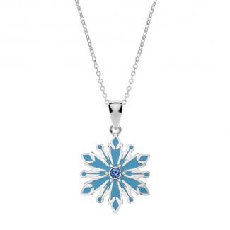 Disney Frost Sølv Halskæde med Blå Snefnug og Zirkonia 16333007
