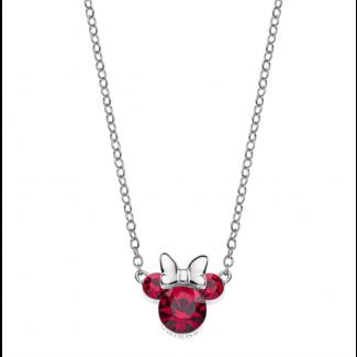 Disney Minnie Mouse Ørestik i Sølv med Rød Zirkonia Sten 16333008