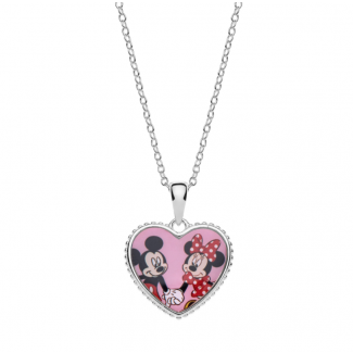 Disney Minnie og Micky Mouse Hjerte Halskæde i Sølv 16333511