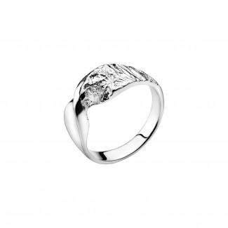 Lund Copenhagen Sølv snoret ring med rustik detalje 9071161