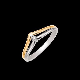 Støvring Design 14kt Guld og Hvidgulds Ring med Diamant 72232020