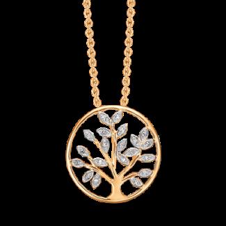 Støvring Design 14kt Guld og Hvidguld Vedhæng med Diamanter i Forgyldt Kæde 76205044